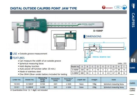 Digital Outside Calipers Point Jaw (D-NP Series) 2