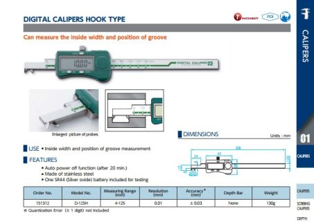 Digital Calipers Hook (D-125H) 2
