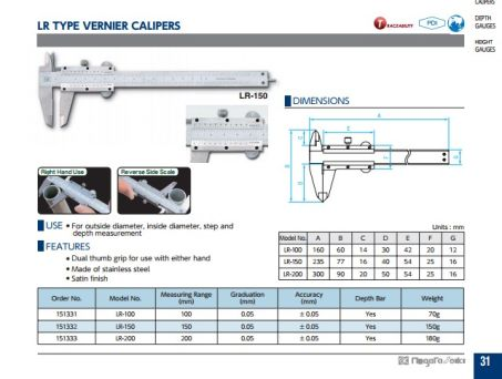 Vernier Calipers (LR Series) 2